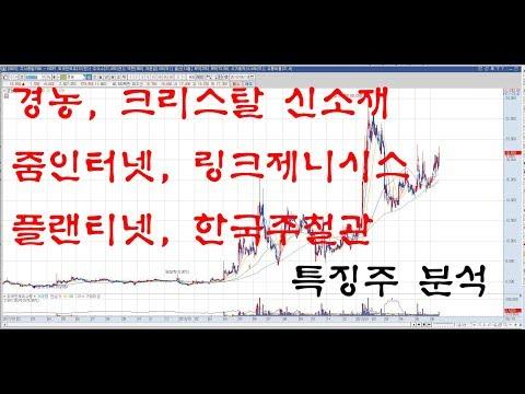 특징주 분석 - 경농, 플랜티넷, 링크제니시스, 줌인터넷, 크리스탈 신소재, 한국주철관