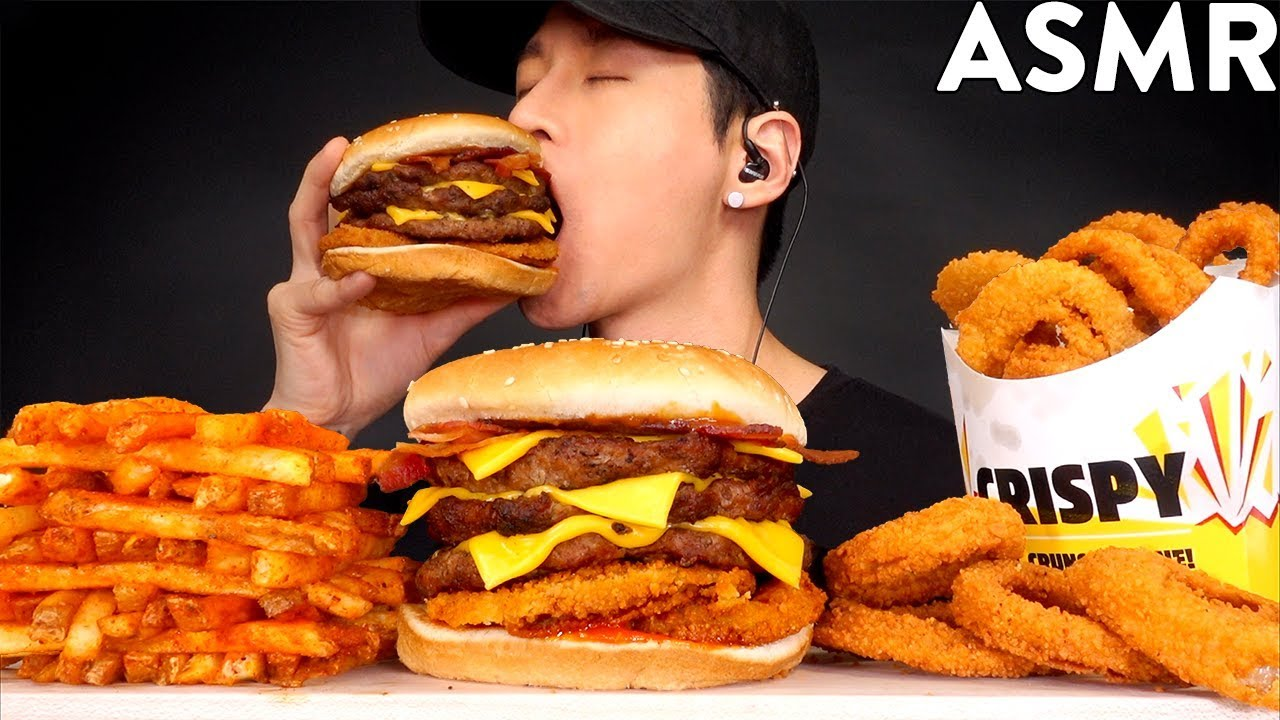 ASMR TRIPLE WESTERN BACON BURGER & FRIES MUKBANG (No Talking) EATING SOUNDS | Zach Choi ASMR