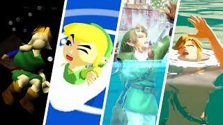 Evolution of Link Drowning in Water in Zelda Games (1987-2021)