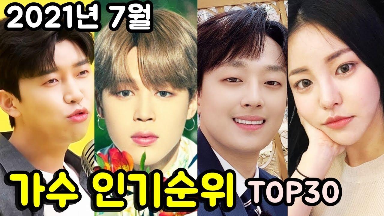 2021년 7월 가수 인기순위 브랜드평판 TOP30 _ Popularity ranking of Korean singers in July