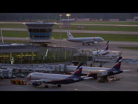 Aeroflot planes and terminal with control tower in Sheremetyevo Airport, Moscow