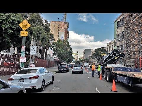 Driving Downtown - LA's Historic Center - Los Angeles California USA