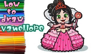 Wreck it Ralph 2 - How to Draw Vanellope  - Art Coloring for Kids - learn to draw