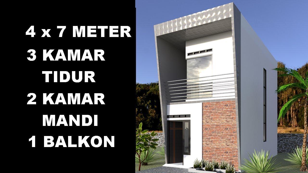 Desain Rumah Minimalis 4x7 Meter Dengan 3 Kamar Tidur - YouTube