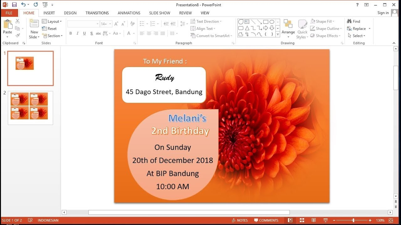 Powerpoint Training How To Create Birthday Invitation Card In Ms Powerpoint