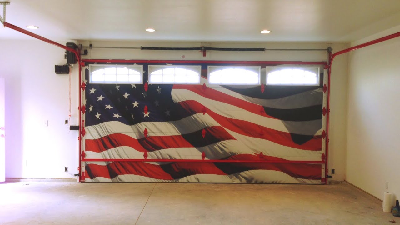 Great Garage Door Install Featuring Old Glory
