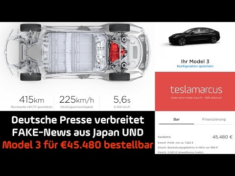 TESLA Model 3 für €45.480 online bestellbar - Deutsche Press