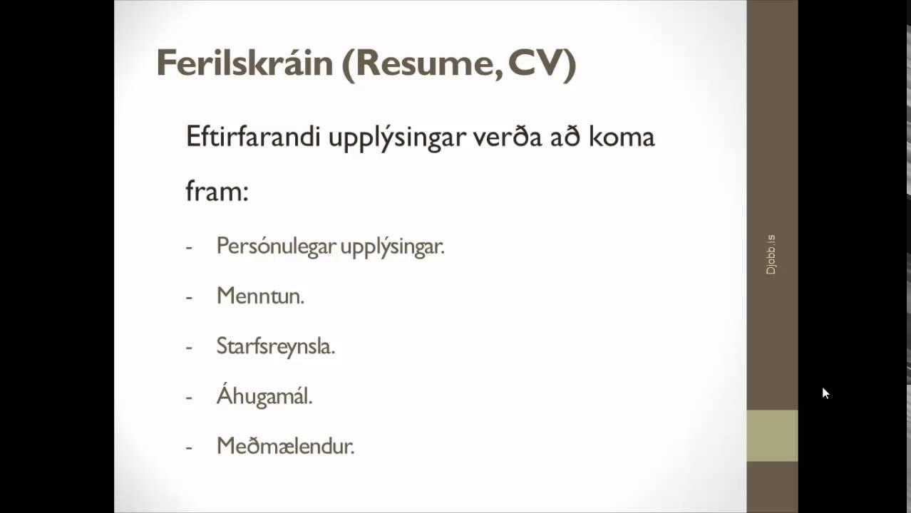 Copy of Ferilskrá Jobb.is - YouTube