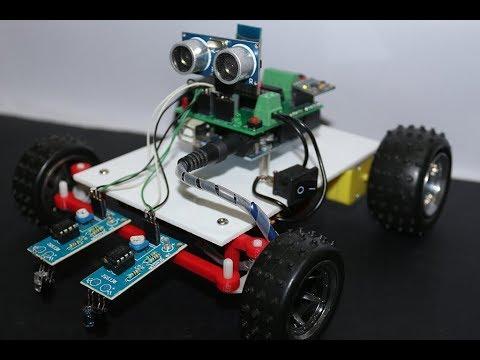 DIY Arduino based Autonomous Car   BT controlled + Line following +  Obstacle avoiding