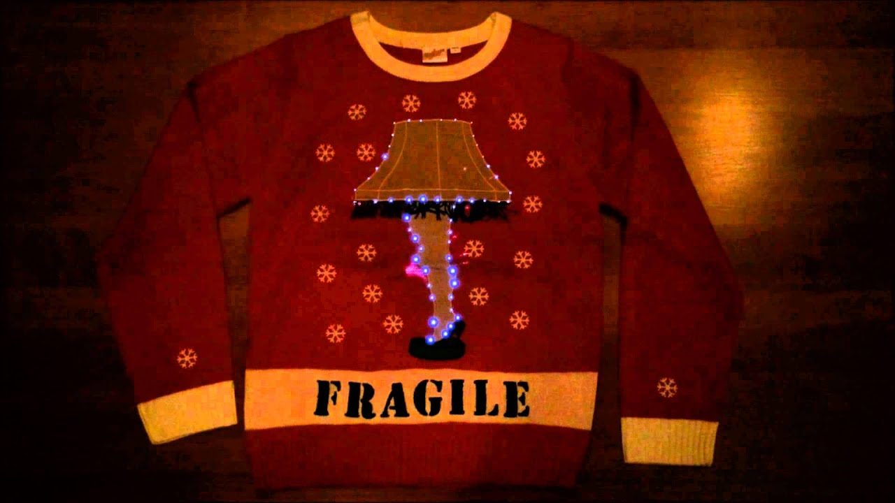 a christmas story lighted leg lamp ugly christmas sweater in red by festified