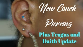 New Conch Piercing | Plus Tragus and Daith Update