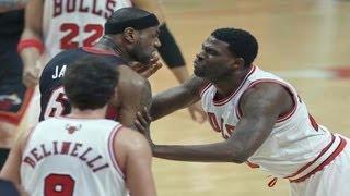 Nazr Mohammed Pushes Down LeBron James (Heat vs. Bulls) May 10, 2013