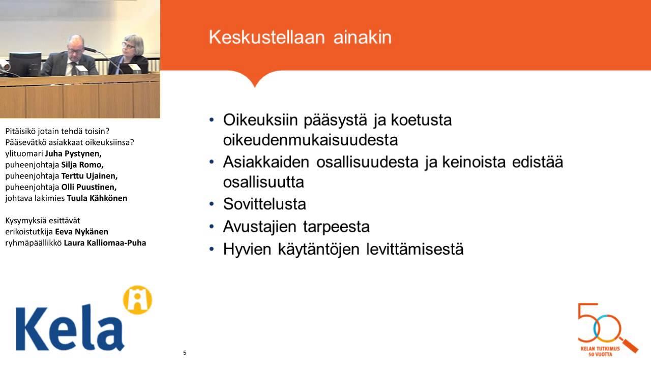 Muutoksenhaku sosiaalivakuutuksessa -seminaari, paneelikeskustelu - YouTube
