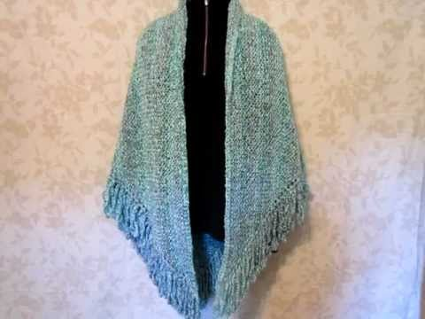 shawl knit with lion brand homespun yarn waterfall