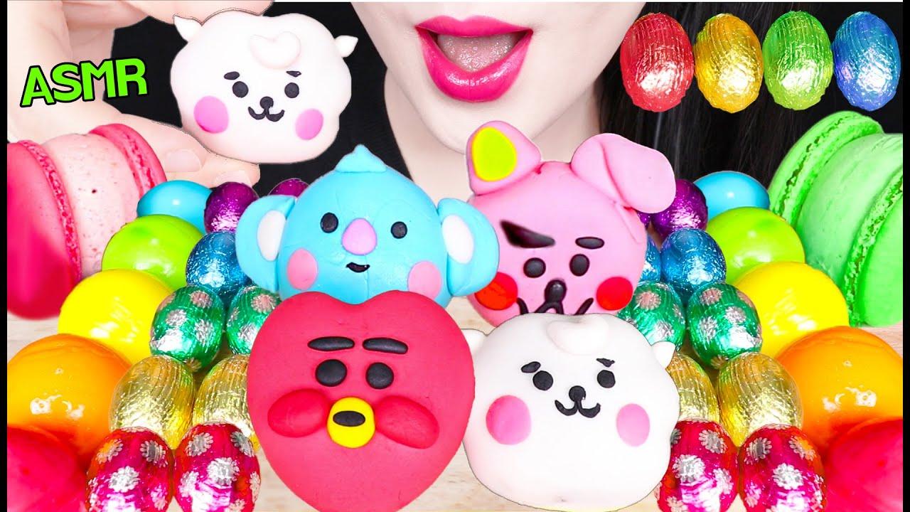 ASMR BTS BT21 CAKE POP, RAINBOW CREPE ROLL CAKE, BOUNCY JELLY, BT21 케이크팝, 크레이프 롤케이크 먹방 EATING SOUNDS