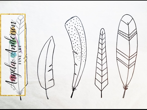 feather drawing and transfer to canvas how to draw 5 easy whimsical feathers youtube. Black Bedroom Furniture Sets. Home Design Ideas
