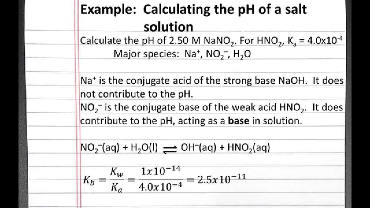 chemistry 201 calculating the ph of a salt solution you. Black Bedroom Furniture Sets. Home Design Ideas