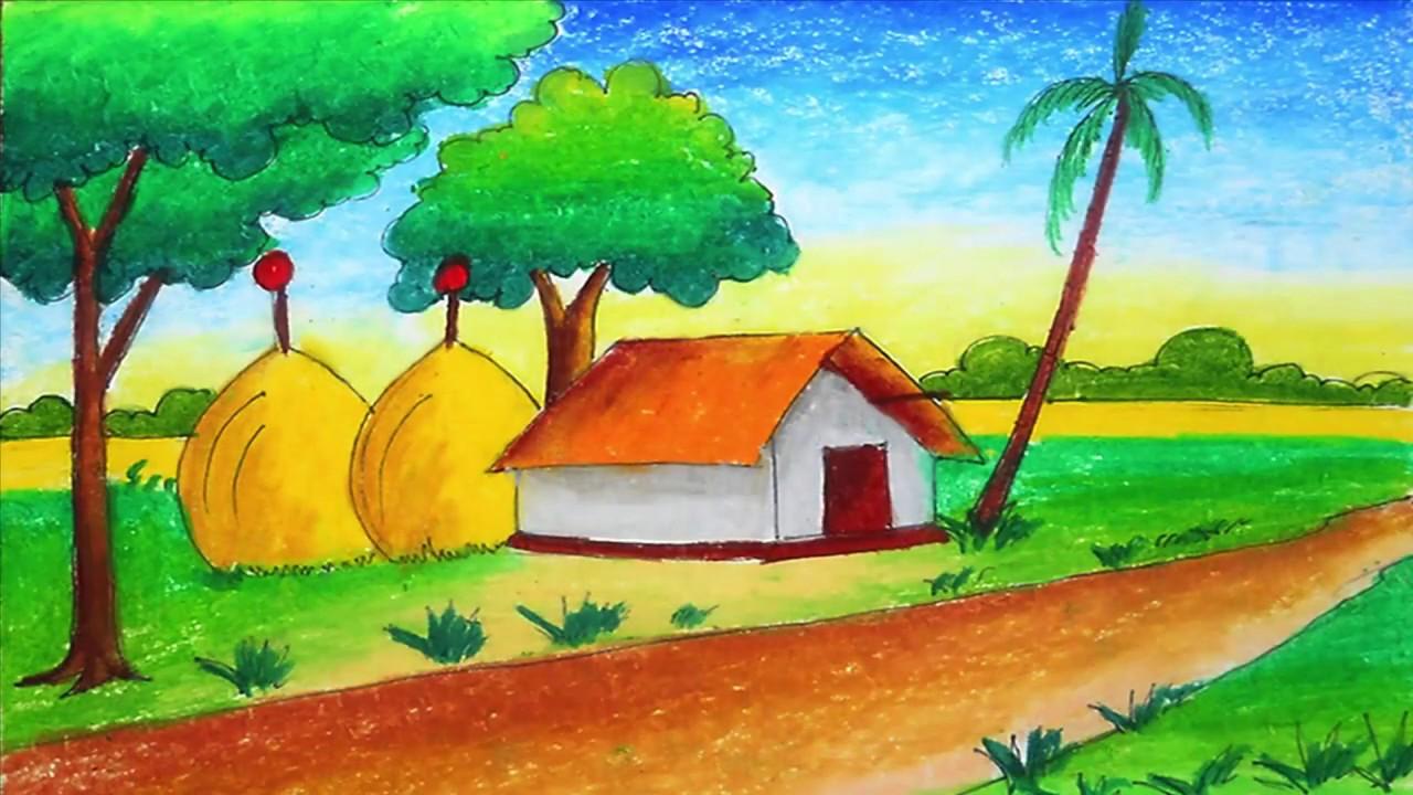 Beautiful Village Scenery Coloring Easy And Simple Sayataru