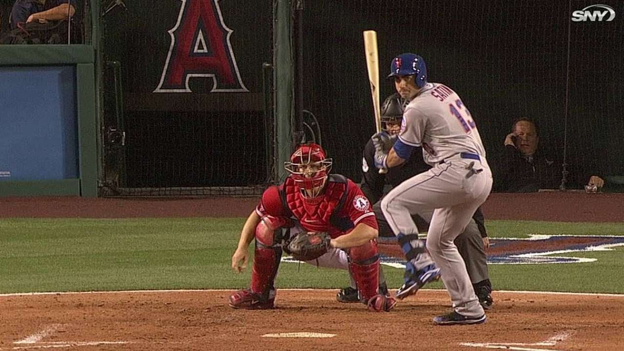 NYM@LAA: Satin smacks a two-run double to left field