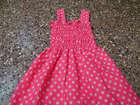 KIDS COTTON  SHIIRRED FROCK CUTTING AND STITCHING.