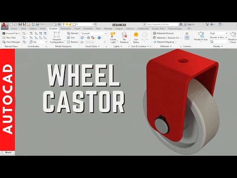 Designing a wheel castor in AutoCAD