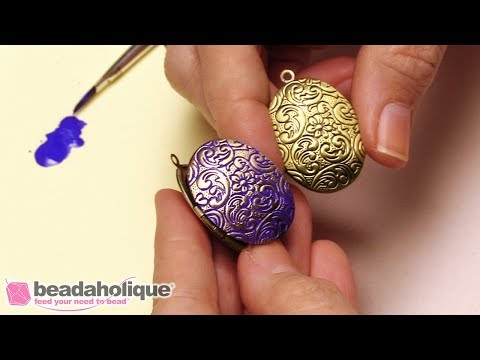How to Embellish a Metal Locket with Vintaj Patina