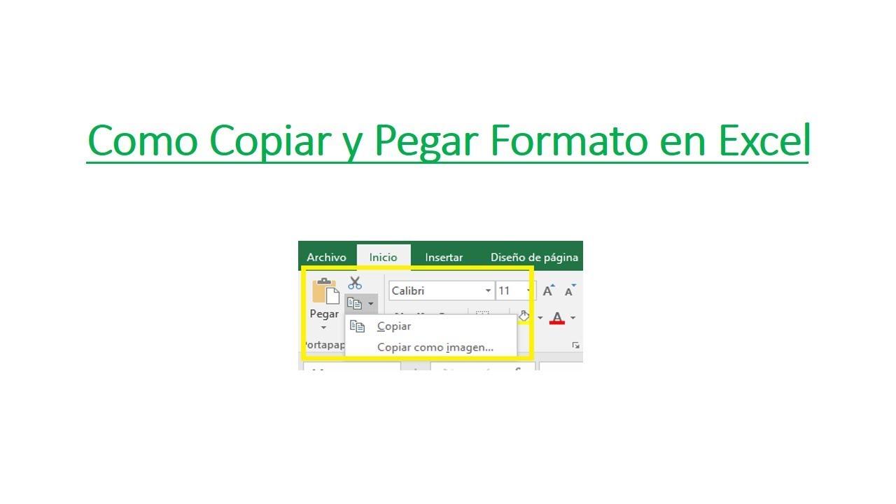 Como Copiar Y Pegar Formato En Excel Youtube
