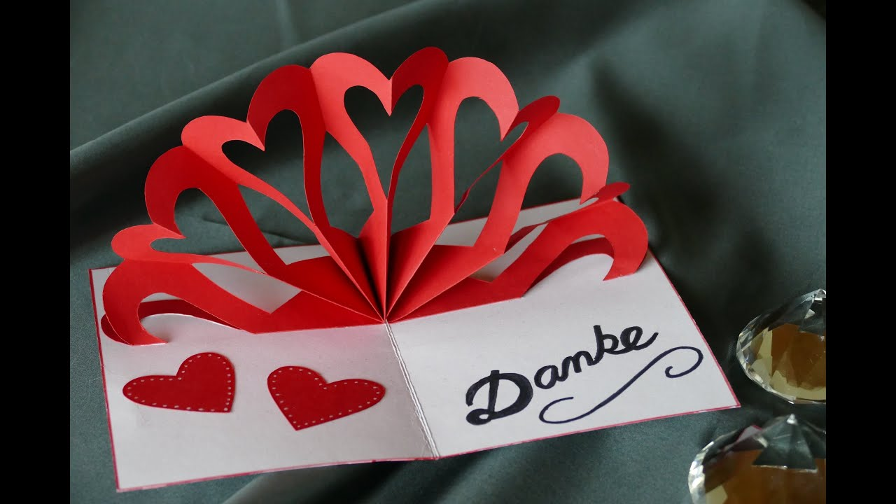 Herz – Klappkarte, heart – pop up card, Muttertag, Hochzeit ...