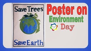 Save earth save trees poster drawing step by step||2018||world environment day drawing||earth poster