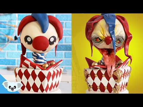 JACK IN THE BOX 2 Faced Cake | Cute and Scary Ideas | Amazing Cakes | Koalipops