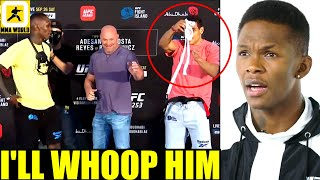 Israel Adesanya reacts to Paulo Costa throwing a WHITE BELT at him during face-off,UFC 253,Reyes,Jan