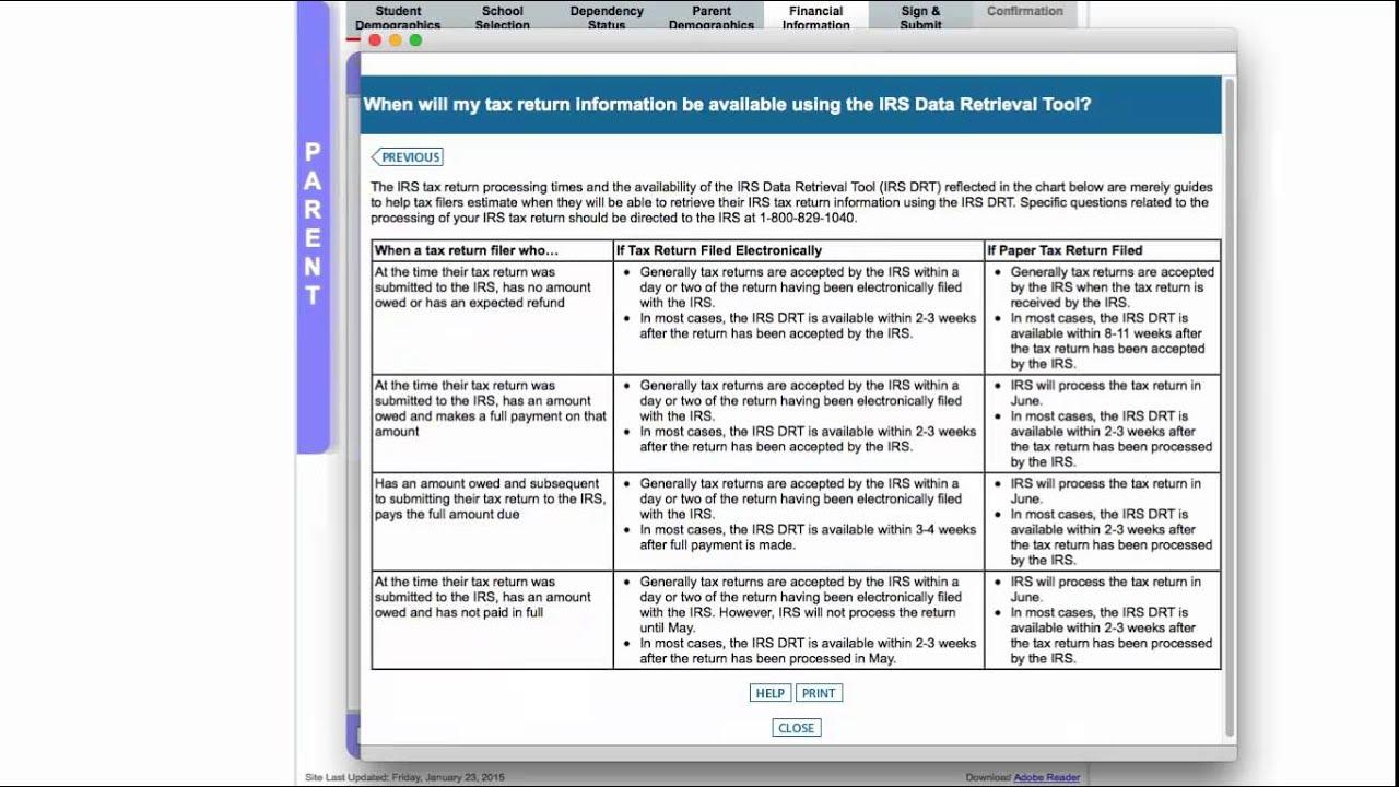 IRS Data Retrieval | Moorpark College