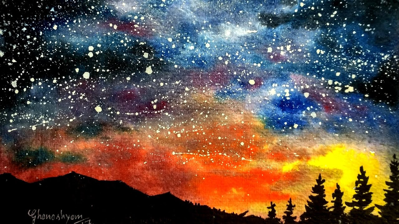 Night sky painting, watercolor painting