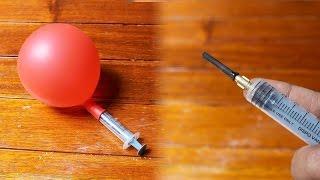 How to Make a Syringe Air Pump balloon Machine | Flopcloud
