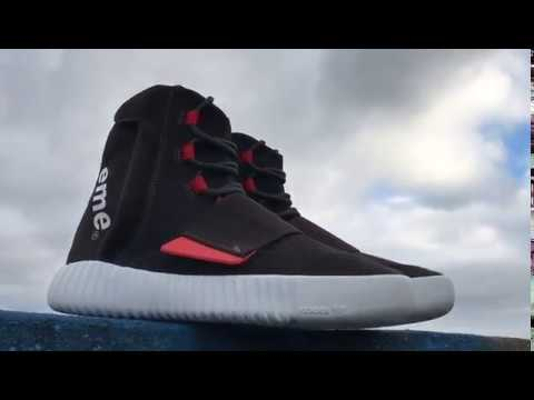 meet 5e7be 9a7bd Supreme x Yeezy Boost 750 Black Red 2018