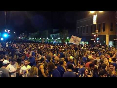 Jayhawks Celebrate Ohio State Win-Alma Mater & Fight Song 03/31/2012