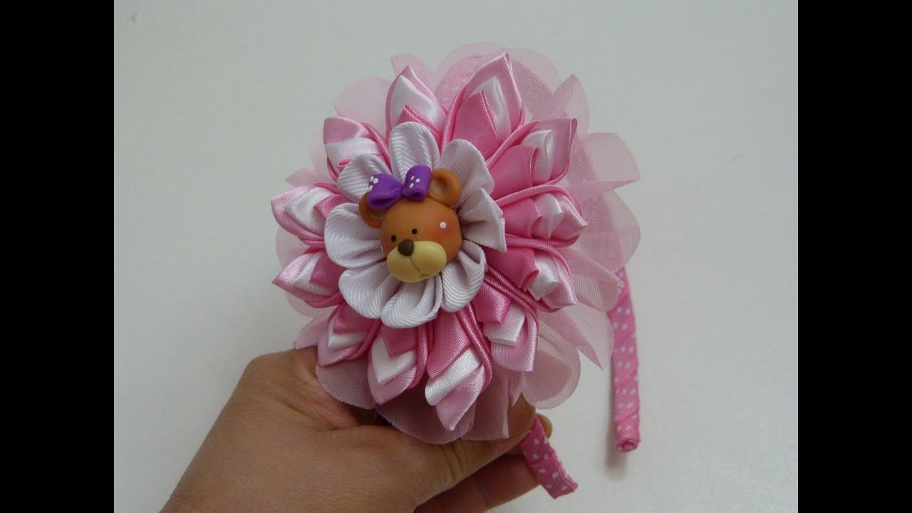 Como hacer lazos flores list n kanzashi flower headband - Como hacer flores ...