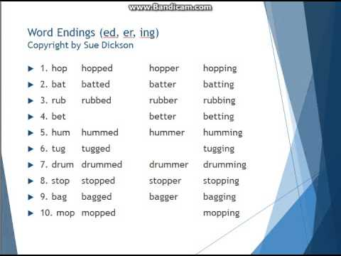 Word Endings (ed, er, ing) (copyright by Sue Dickson) - YouTube