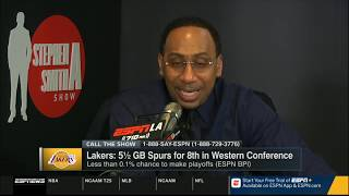 Stephen A. on Lakers: 4.5 GB Spurs for 8th; less than 0.1% chance to make playoffs | First Take