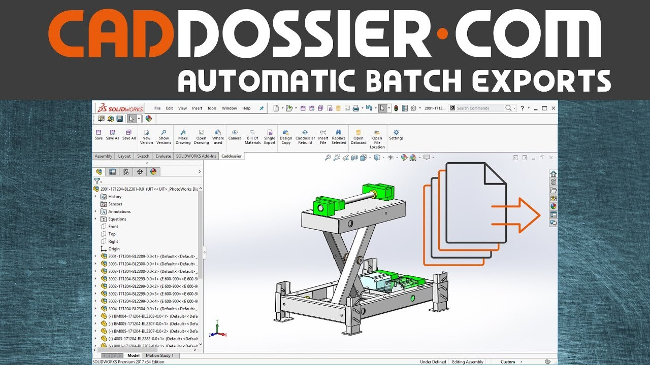Automatic Batch export (PDF, DWG, DXF, STP) with Caddossier for Solidworks,  Inventor, SpaceClaim