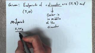 Given the endpoints oḟ the diameter of a circle, find its equation.