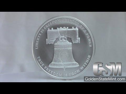 Golden State Mint - 1 oz Liberty Bell MiniMintage Silver  bullion round/ Silver Shield