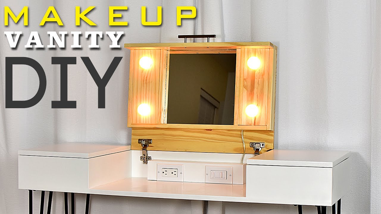 diy makeup vanity desk with storage plans available
