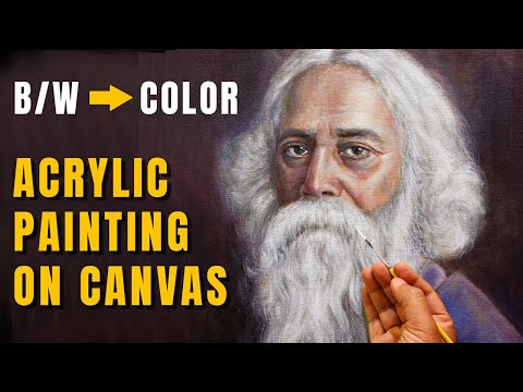 BLACK & WHITE to COLOR | Rabindranath Tagore Acrylic Portrait Painting on Canvas | Time-Lapse Demo
