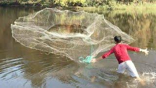 С женой на рыбалку. Кастинговая сеть нас опять не подвела.