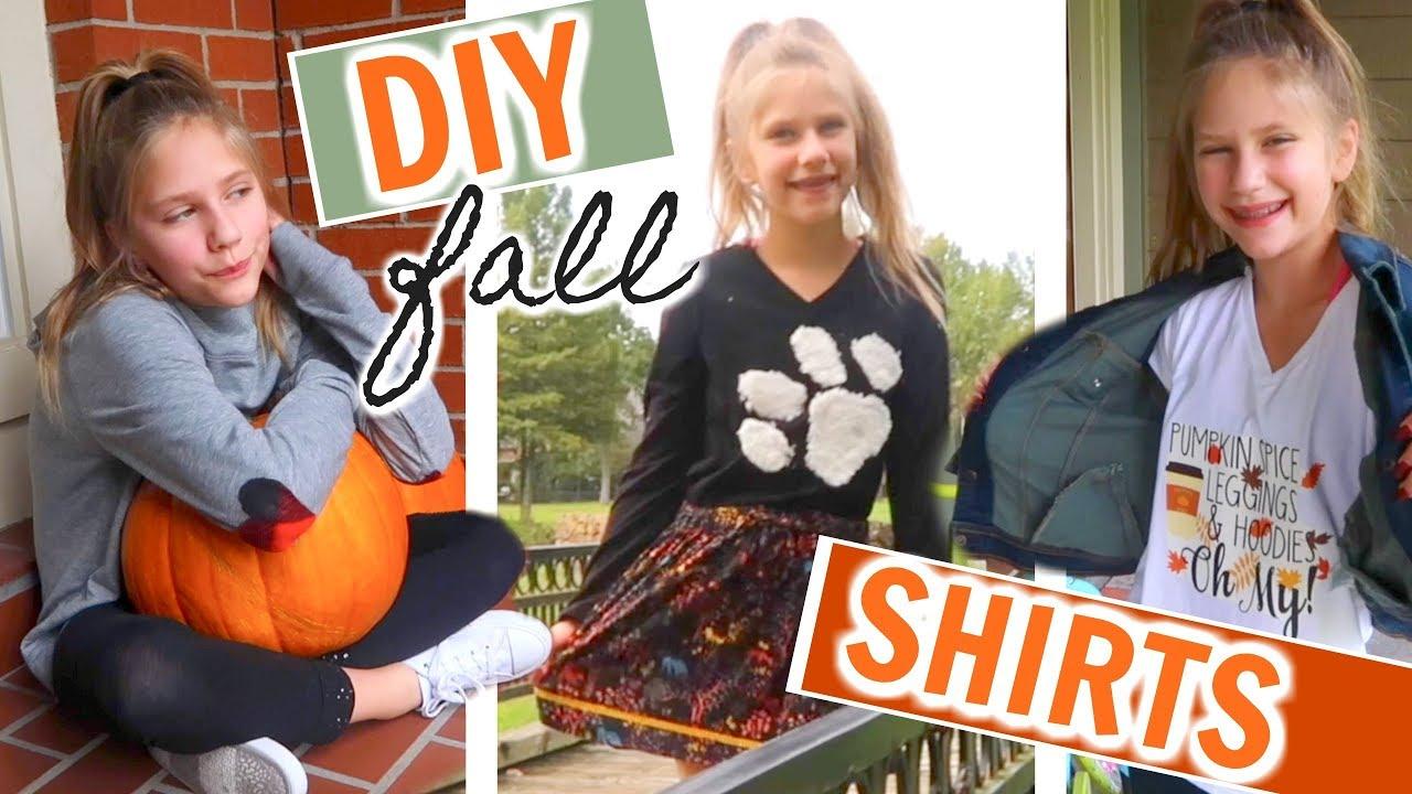 3 CUTE 5-Minute DIY Fall Shirts No-Sew Fall Fashion Crafts ...