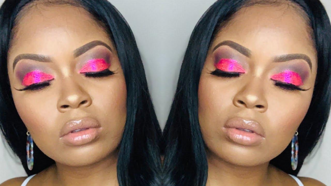 Pink Glitter eyeshadow tutorial |  AERGLO GLITTERS