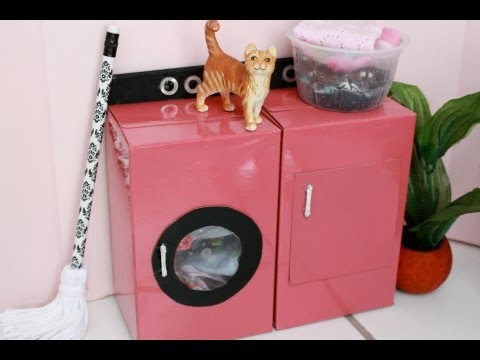how to make a doll washer and dryer youtube. Black Bedroom Furniture Sets. Home Design Ideas