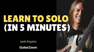 Learn To Solo In 5 Minutes - Beginner Guitar Lesson - 6 Note Soloing Technique(Grab your FREE PDF for this beginner guitar lesson here: http://guitarzoom.com/lp/learn-to-solo-in-5-minutes/, 2015-05-13T23:24:14.000Z)