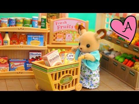 SUPERMERCADO DE CALICO CRITTERS - De compras en el supermercado - Videos de juguetes